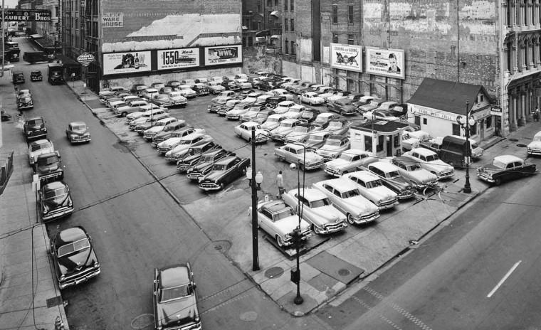 New Orleans Car Parking Lot 1950s 2