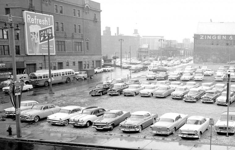 Parking Lot Schlitz Street Scene 1957