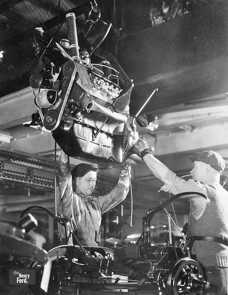 1934 Ford Engine Drop On Assembly Line