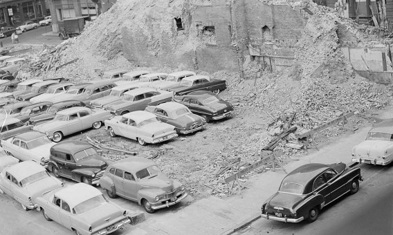 Boston Parking Lot with Old 1950s cars