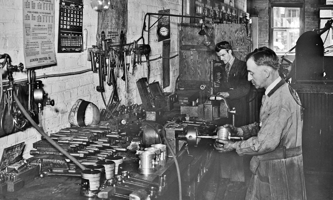 Scenes From Another Time In A Busy Auto Machine Shop
