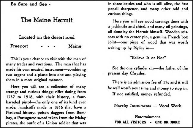 The Maine Hermit Advertisment