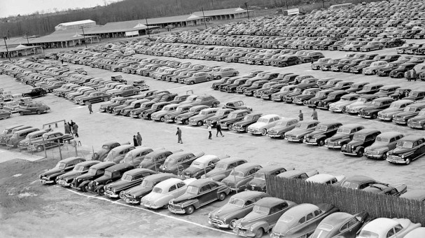 1950s Parking Lot Photo Filled With Vintage Cars