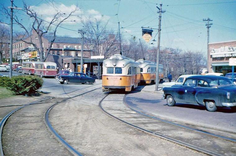 1950s Street Scene in Boston with Streetcars I