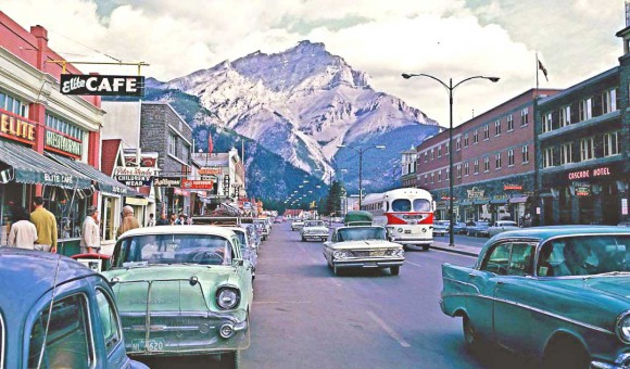 Banff-Alberta-Street-Scene-Filled-With-Vintage-Cars-II