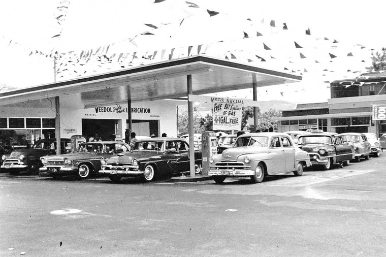 Flying A Gas Station opening 1958