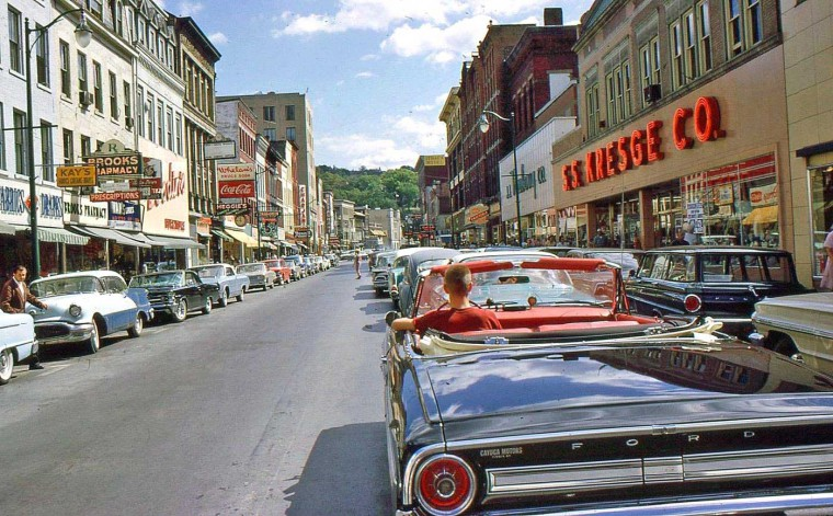 Ithaca NY Street Scene with Vintage Cars