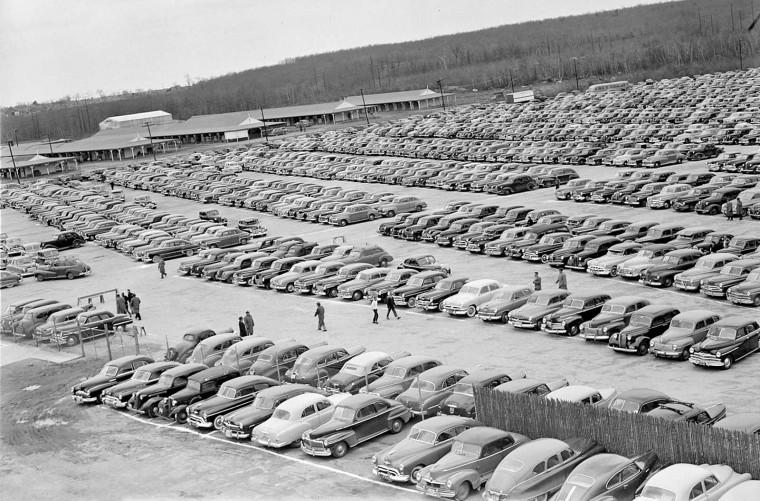 Parking lot at the Rockingham Park circa 1950