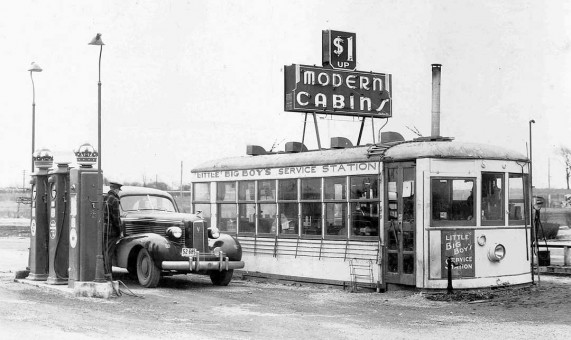 Street Car Converted into a Gasoline Station 1930s