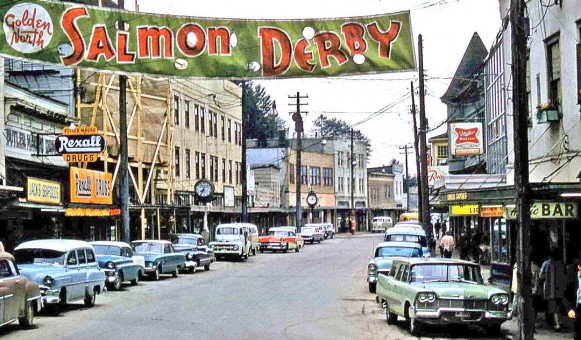 The Golden North Salmon Derby 1960s Street Scene with Vintage Cars