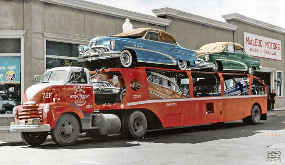 New 1953 Buicks on Anchor Motor Freight Hauler