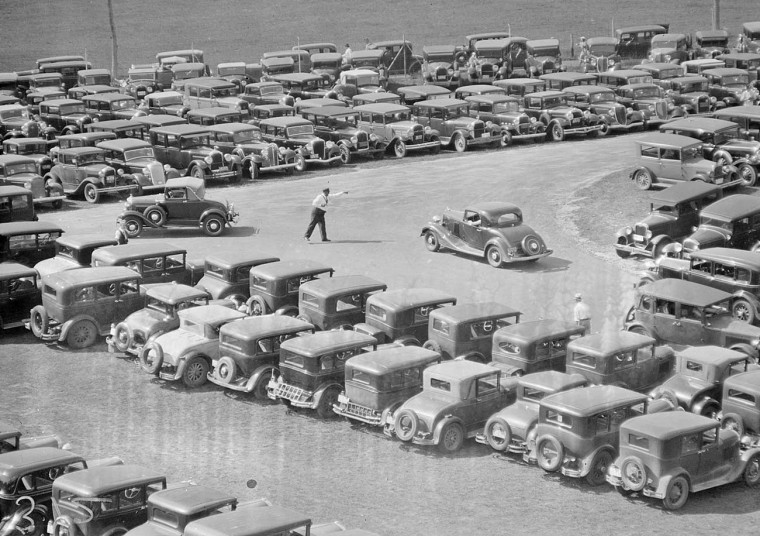 Rockingham Race Track Parking Lot Early-1930s Cars