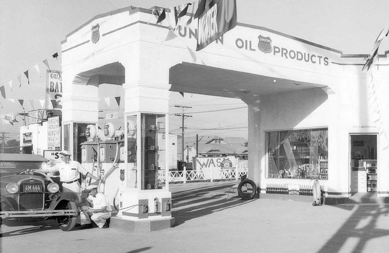 An Up To Date Union Oil Filling Station In Los Angeles