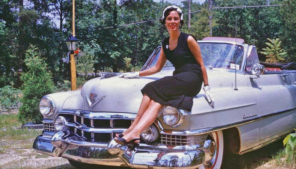 Woman and a early-1950s Cadillac Conv.