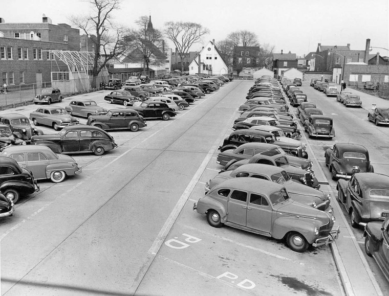 1930s-1940s Cars in a Long Island Parking Lot Scene