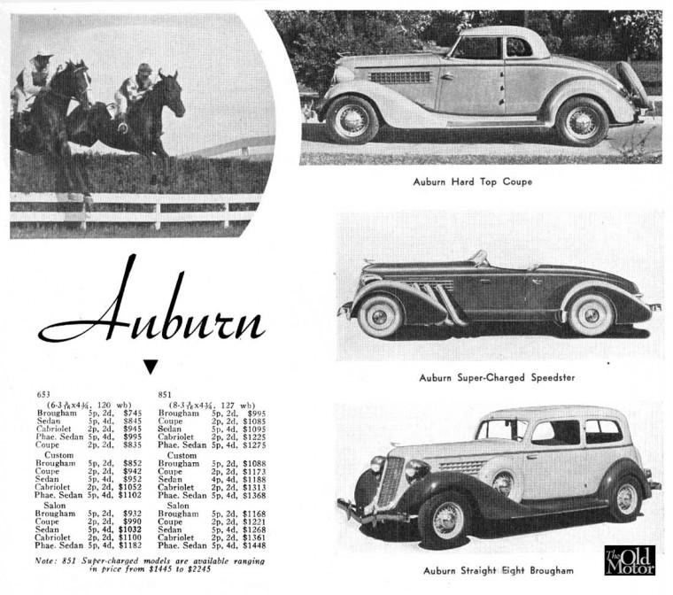 1936 Auburn 653 - 851 Models