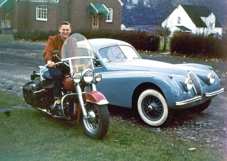 1950s Jaguar Coupe and Harley Davidson
