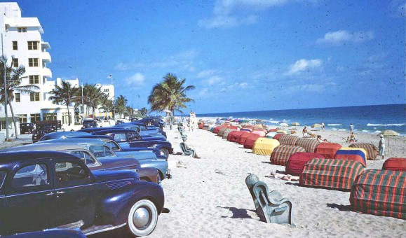Beach Scene with Prewar Cars
