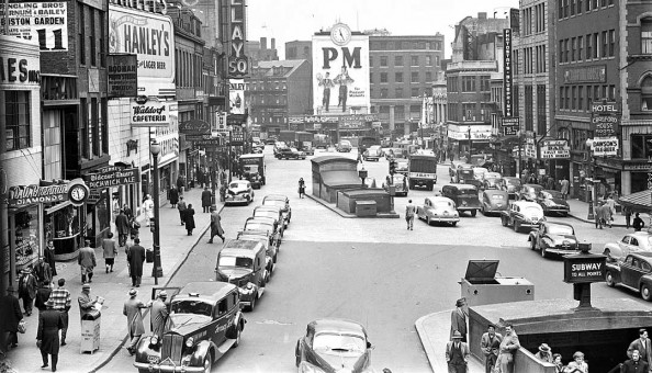 Boston Postwar Vintage Street Scene with Cars and Trucks