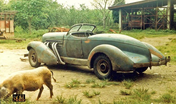 Philippine 1936 Auburn Speedster and the Pig