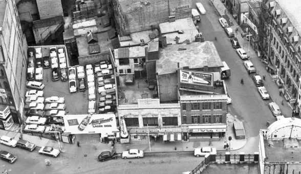 Scollay Square Parking Lot and Street Filled with Vintage 1950s Cars