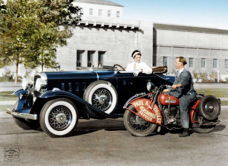 1932 Oldsmobile Convertible Coupe and Single Cylinder Harley-Davidson