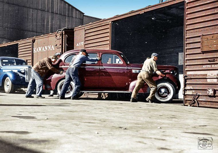 1938 Buicks Being Loaded for Transport