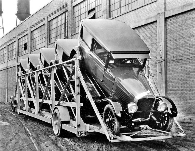 1928 Buick's Leaving Manufacturing Plant