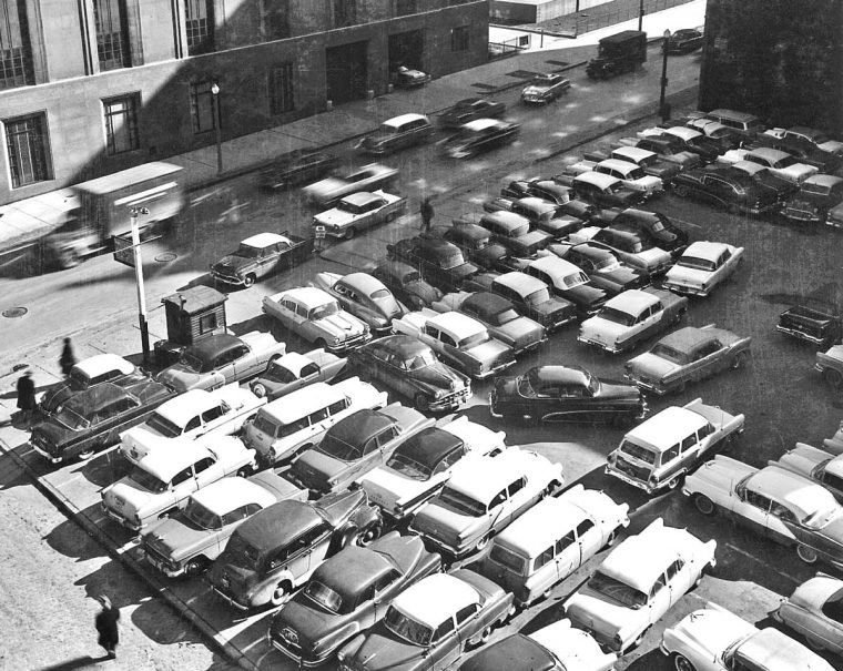 1950s Parking Lot on Downtown Boston