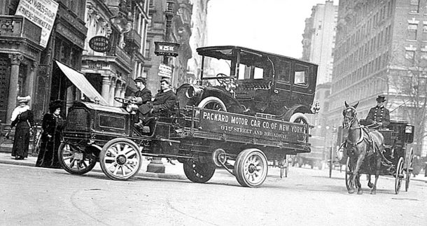 Circa 1910 Packard Being Delivered On A Packard Truck