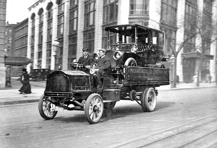 Circa 1910 Packard Being Delivered On A Packard Truck I