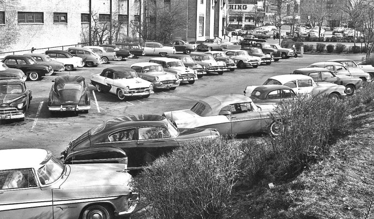 Forties and Fifties Cars in a Boston Parking Lot