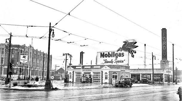 Mobilgas Station Stark Hickey Ford 1936 Detroit I