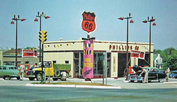 Phillips 66 Station Eary Fifties Grand Opening
