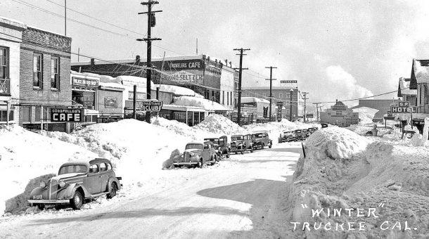 Truckee CA Winter Photo With Cars Circa 1937 I