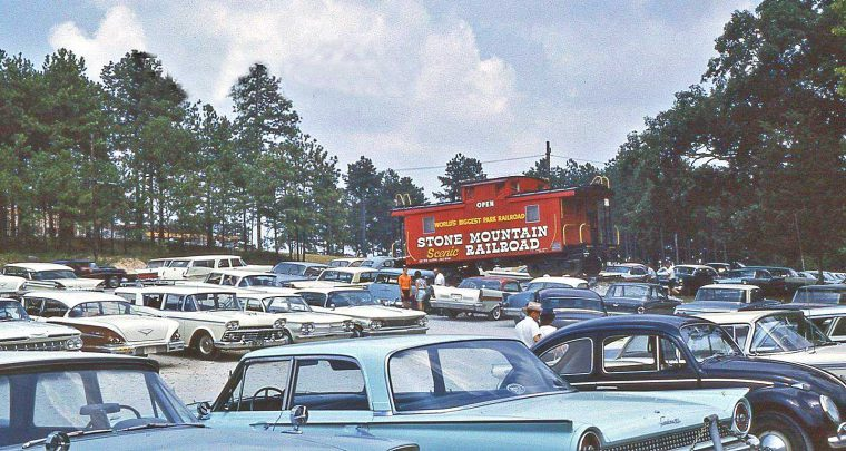 stone-mountain-scenic-railroad-parking-lot-old-cars-1963