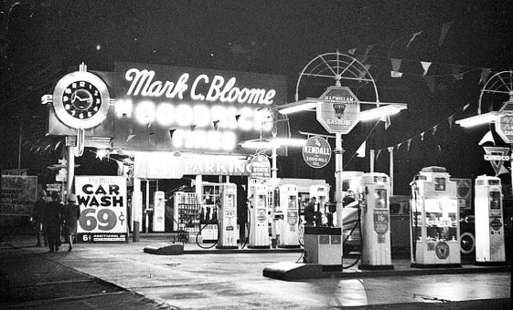 MacMillan tire shop gasoline station late 1940s car