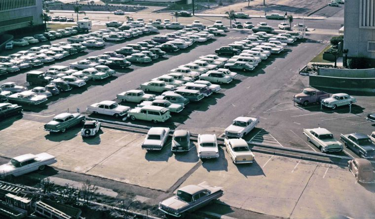 Orange County california parking lot 1950s automobiles