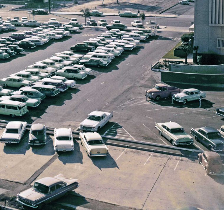 Southern california parking filled with 1950s automobiles