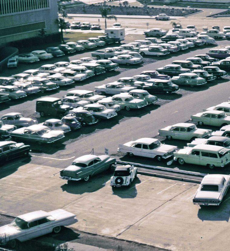 california civic center parking lot 1950s automobiles
