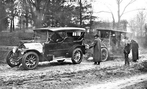 1913 National Touring Car Towing Early Limousine