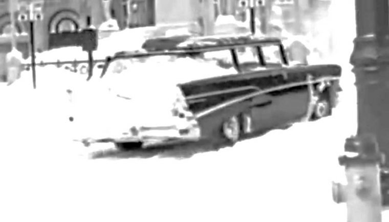 1957 Chevy Driving in the Blizarrd of 1958