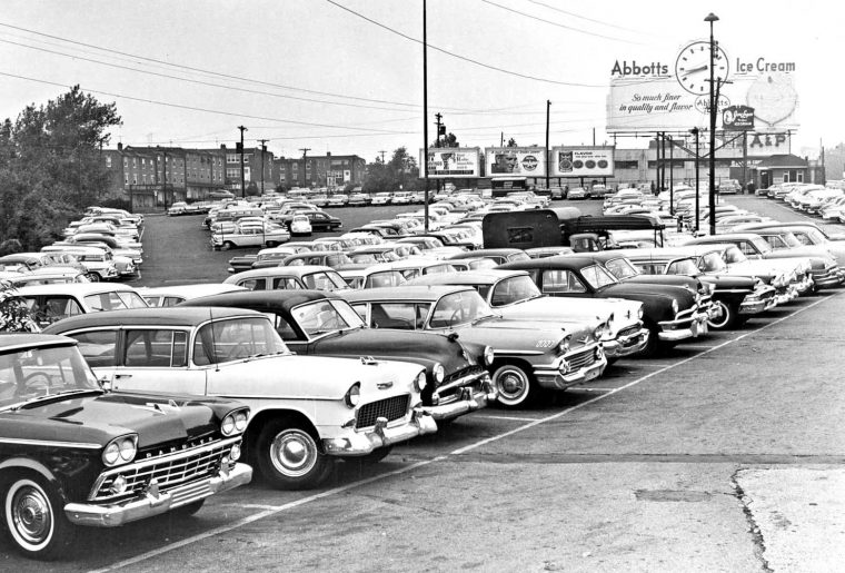 A&P Super market parking lot circa 1960 - 1950s and 1960s automobiles