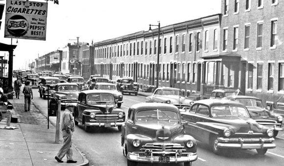 Camden New Jersey street scene 1940s cars -1950s cars 1