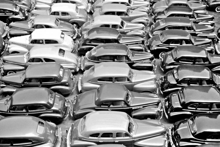 Parking Lot 1941 Filled with Cars