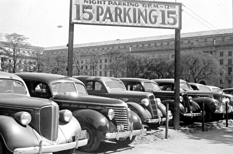 Parking Lot Filled - 1930s Automobiles