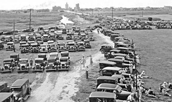 Sea side parking lot Port Arthur Tx 1920s and 1930s automobiles