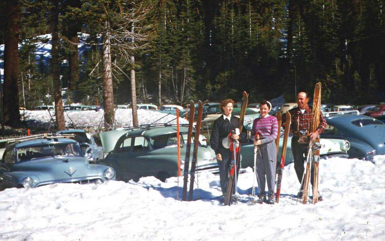 mid-1950s winter ski trip 1940s and 1950s cars