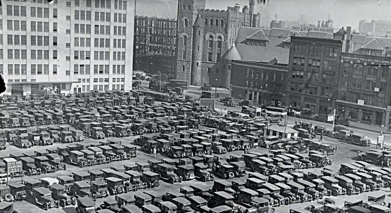 Busy Park Square District Parking Lot In Boston