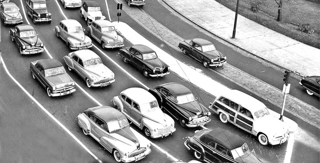 Newly Constructed Rotary Filled with Postwar Cars Circa 1950 | The ...